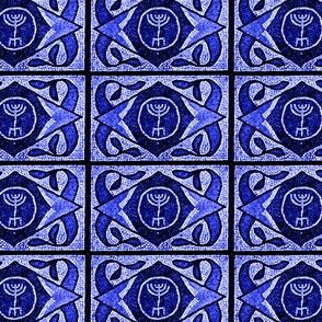 Navy Menorah Tile