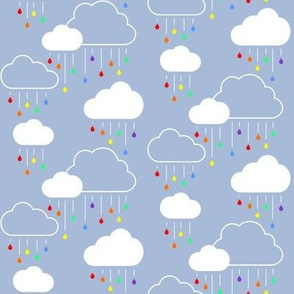 Small Clouds - White on Gray-Blue with Rainbow Raindrops