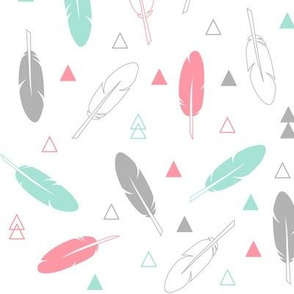 Feathers - Mint Gray and Coral on White Tribal