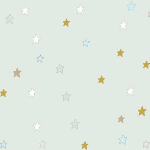 Dark Yellow and White Stars on Mint Green
