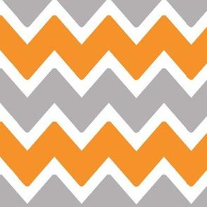 Orange Grey Gray Chevron Zigzag