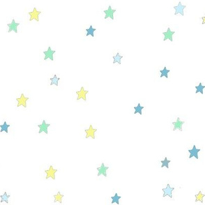 Blue Green Yellow Stars on White