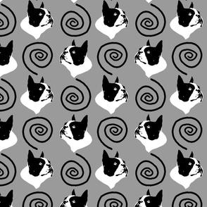 Whimsical Boston Terrier faces - gray