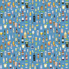 Night Cap cocktail fabric in blue