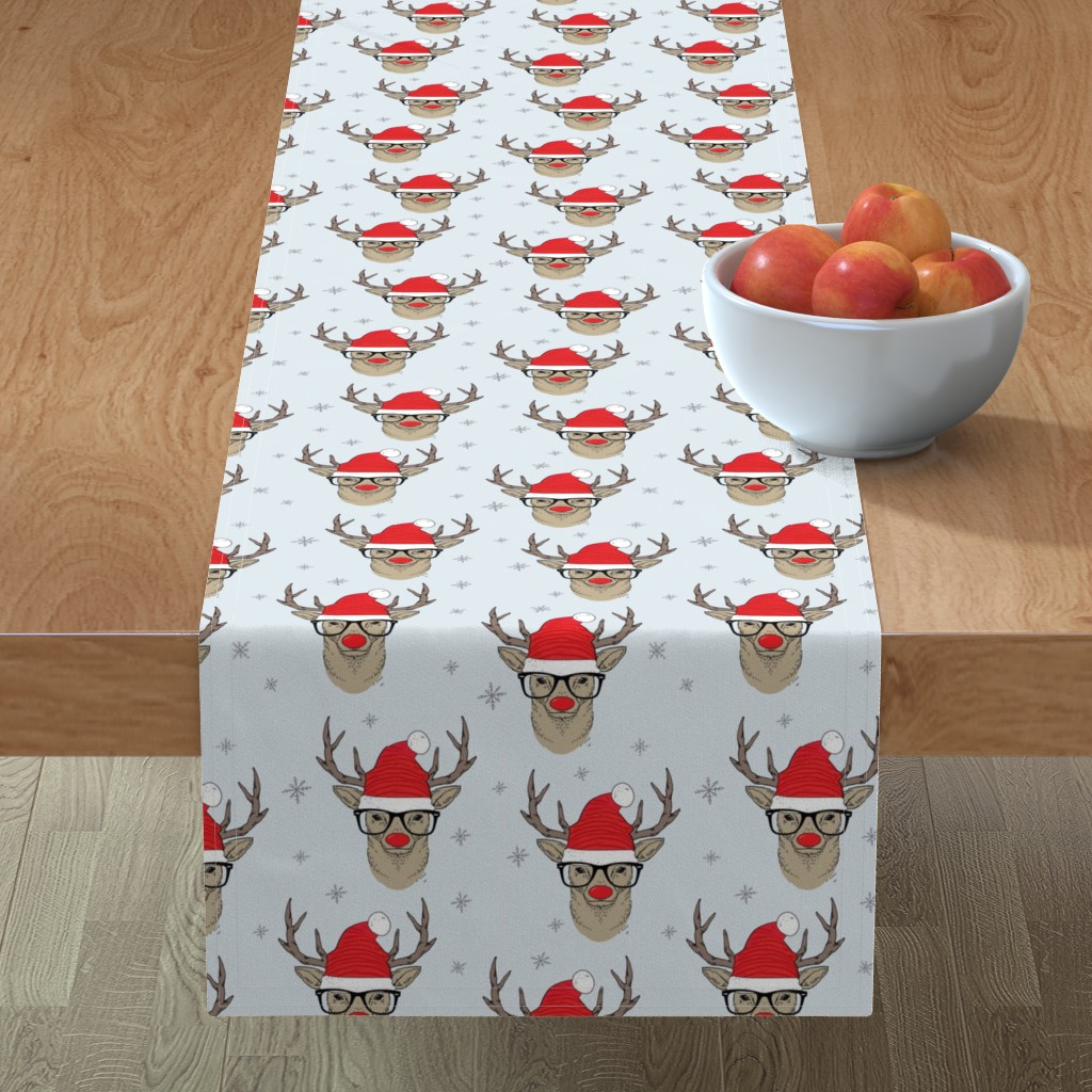 Minorca Table Runner featuring Hipster Rudolf with snowflake by taluna
