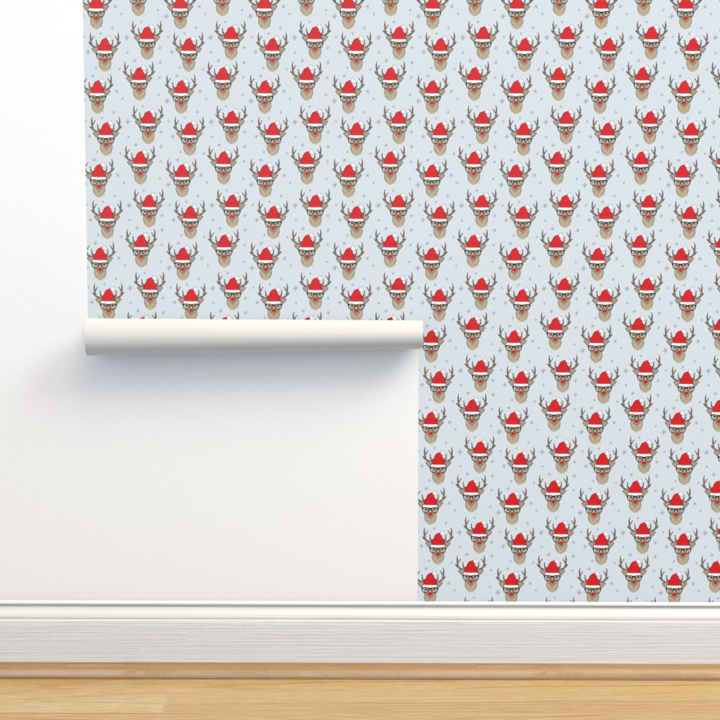 Isobar Durable Wallpaper featuring Hipster Rudolf with snowflake by taluna