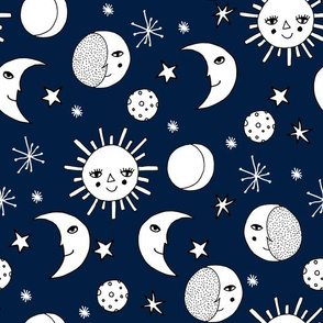 sun moon stars // navy blue kids nursery kids room sweet little girls night sky constellations