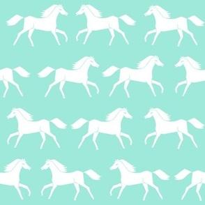 horses // running horses mint and white girly pastel horse illustration for girls room