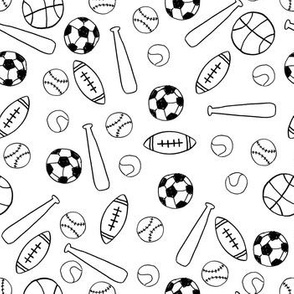 sports fabric // black and white minimal line drawing hand drawn sports print