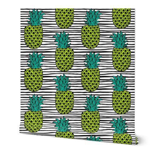 4825061 pineapple summer exotic tropical black white stripes trendy pineapple fruit by andrea lauren