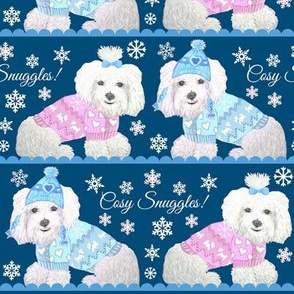 Maltese Dogs in Christmas sweaters / Christmas fabric, Holiday Fabric, Dogs in sweaters, Knitting fabric, Winter fabric,