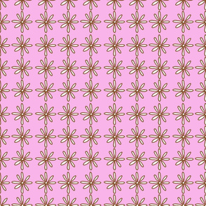 Brown/Pink Scribble Daisy pattern