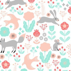 spring // woodland hedgehog fox bird flow kids flowers garden birds baby nursery girly pastels