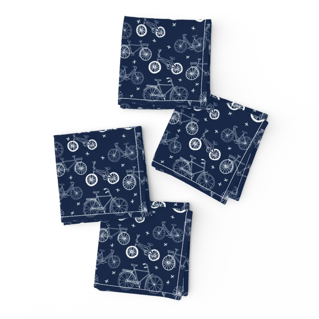 Frizzle Cocktail Napkins featuring bicycles // hand drawn navy blue kids bikes bicycles fun bike hand-drawn illustration bicycle print by andrea_lauren