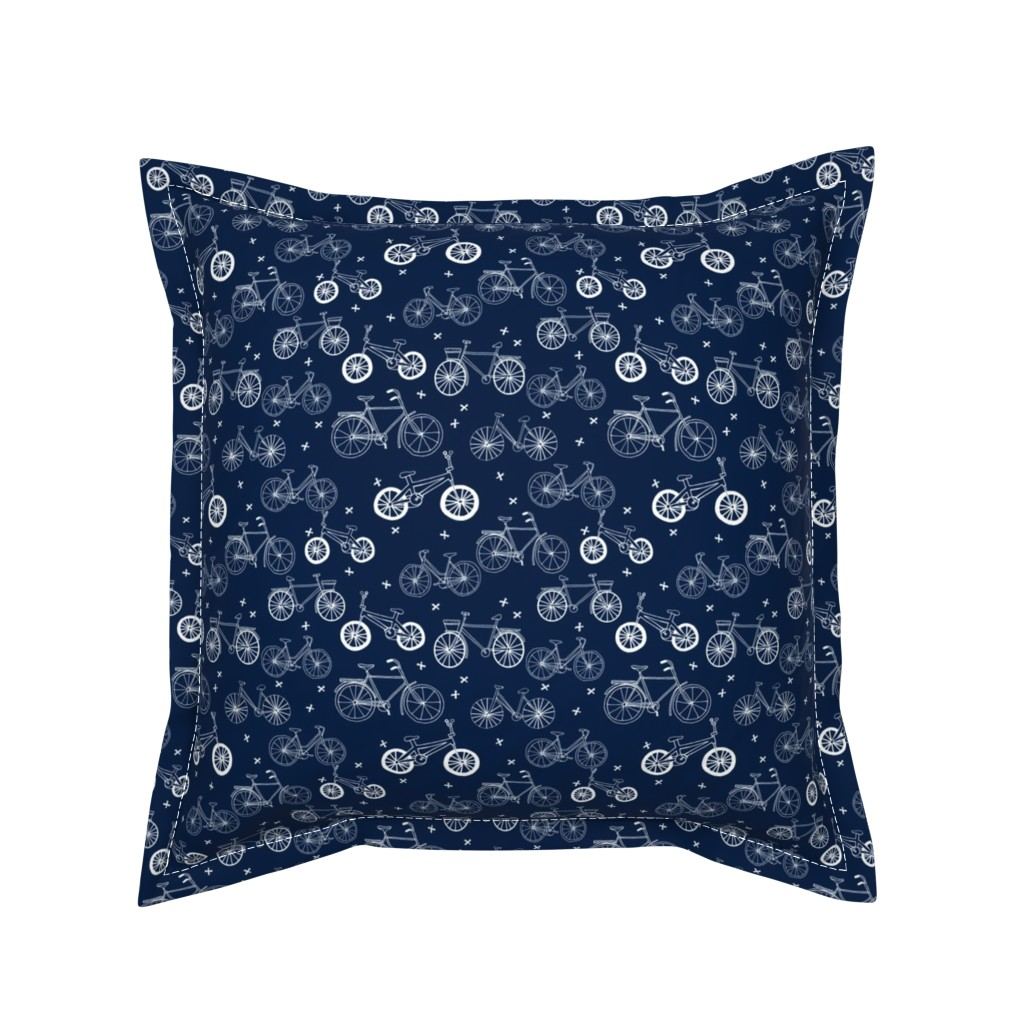 Serama Throw Pillow featuring bicycles // hand drawn navy blue kids bikes bicycles fun bike hand-drawn illustration bicycle print by andrea_lauren