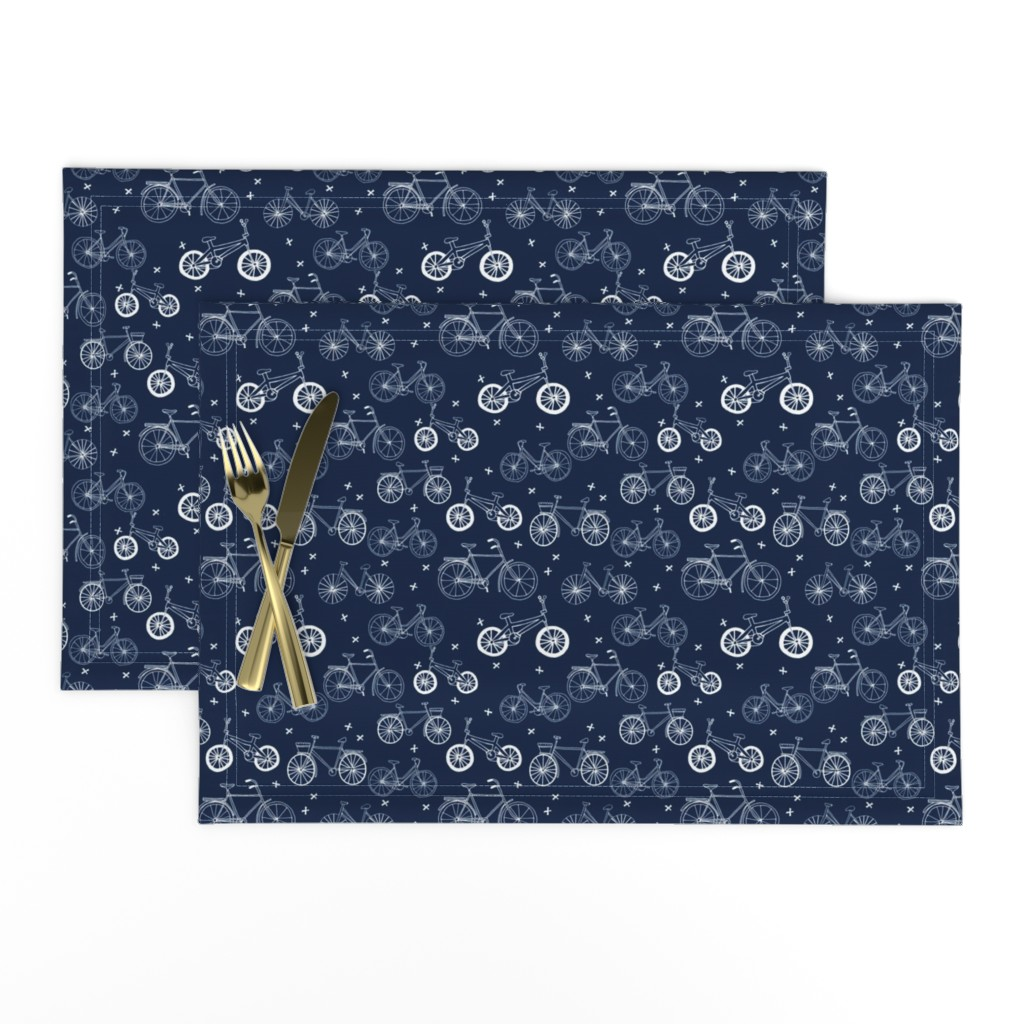 Lamona Cloth Placemats featuring bicycles // hand drawn navy blue kids bikes bicycles fun bike hand-drawn illustration bicycle print by andrea_lauren