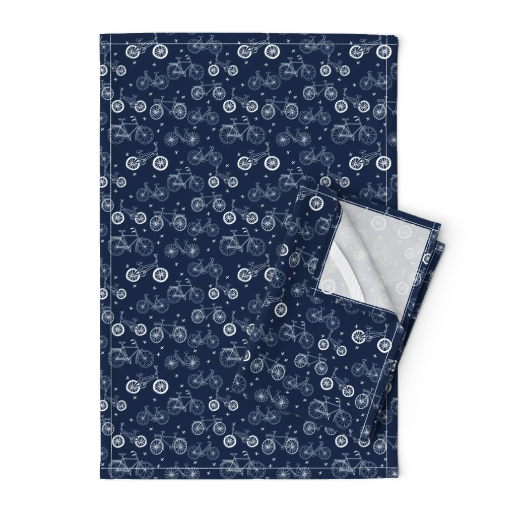 Orpington Tea Towels featuring bicycles // hand drawn navy blue kids bikes bicycles fun bike hand-drawn illustration bicycle print by andrea_lauren