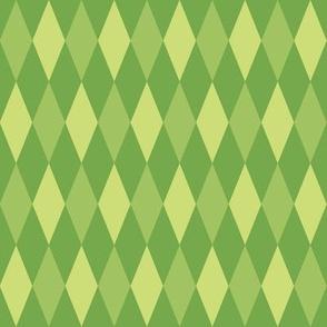harlequin diamonds - green leaves