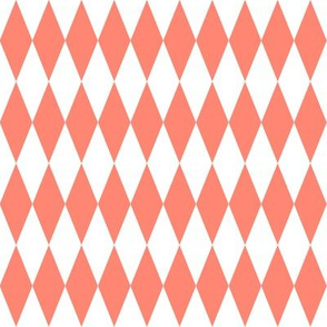 harlequin diamonds - coral and white