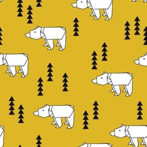 Cute polar bear woodland tree origami japanese paper art illustration for kids geometric style design fall mustard ochre