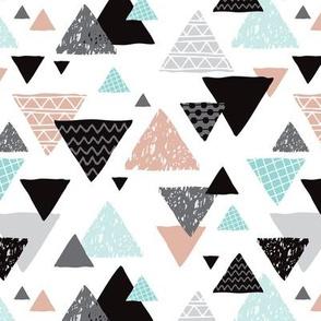 Geometric triangle aztec illustration hand drawn pattern mint and gender neutral beige