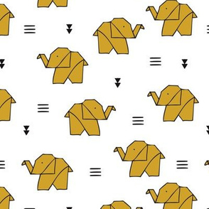 Cute origami japanese jungle animals elephant paper art illustration for kids geometric style design mustard yellow