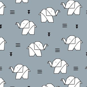 Cute origami japanese jungle animals elephant paper art illustration for kids geometric style design ice blue gray