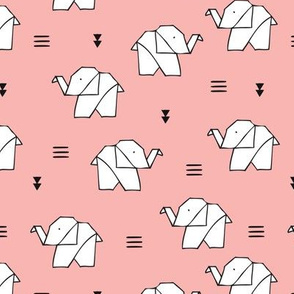 Cute origami japanese jungle animals elephant paper art illustration for kids geometric style design pale pink