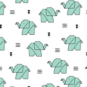 Cute origami japanese jungle animals elephant paper art illustration for kids geometric style design mint green