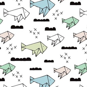Cute origami japanese fish paper art illustration for kids geometric style design blue