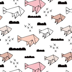 Cute origami japanese fish paper art illustration for kids geometric style design soft pale pink