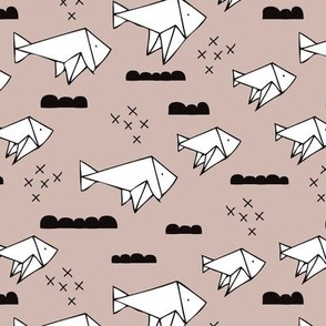 Cute origami japanese fish paper art illustration for kids geometric style design black white and gender neutral beige
