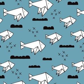 Cute origami japanese fish paper art illustration for kids geometric style design blue