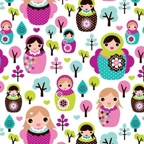 Colorful russian nesting dolls matryoshka spring woodland illustration pattern for kids