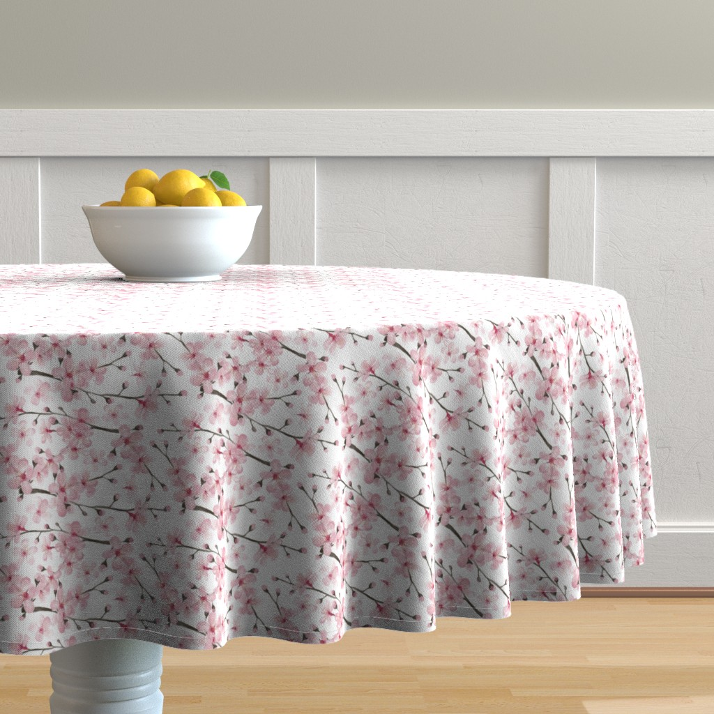 Malay Round Tablecloth featuring cherry blossom watercolor  // cherry blossom floral by magentarosedesigns