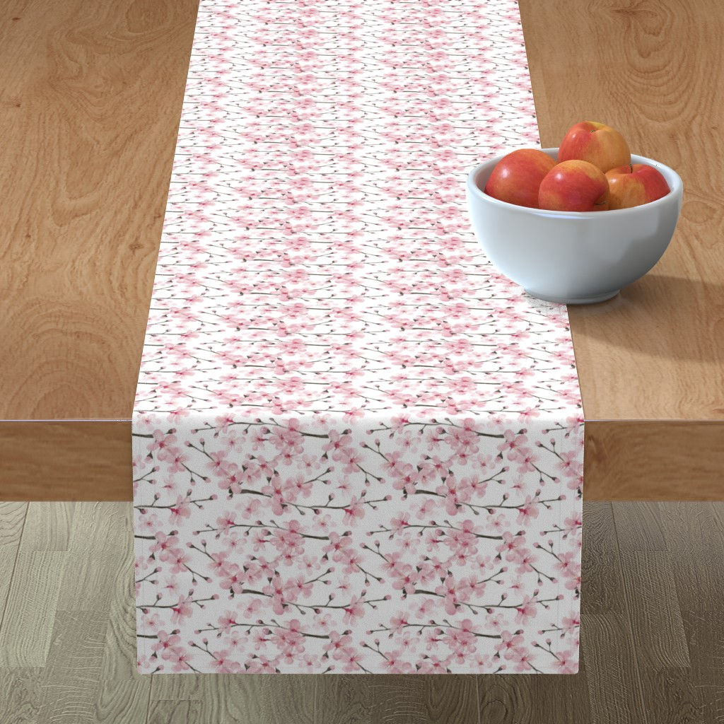 Minorca Table Runner featuring cherry blossom watercolor  // cherry blossom floral by magentarosedesigns