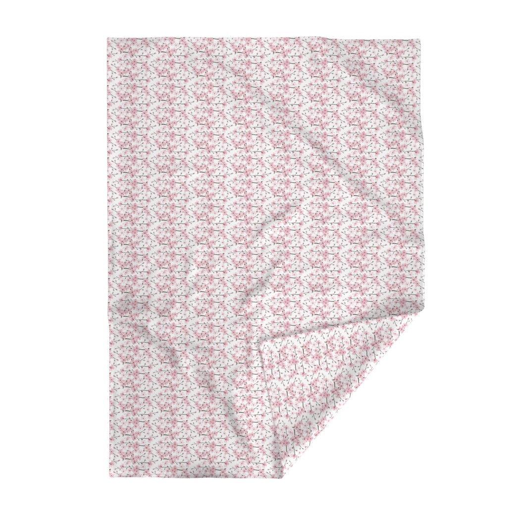 Lakenvelder Throw Blanket featuring cherry blossom watercolor  // cherry blossom floral by magentarosedesigns