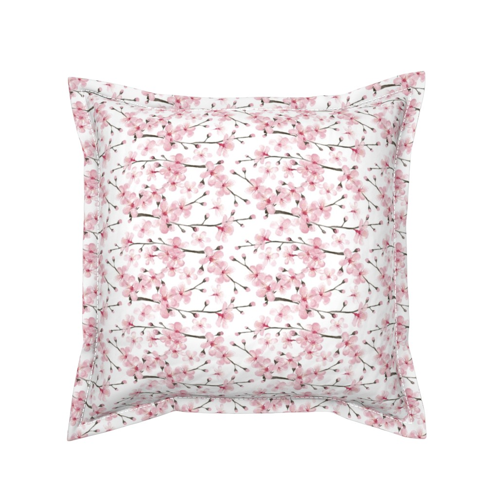 Serama Throw Pillow featuring cherry blossom watercolor  // cherry blossom floral by magentarosedesigns