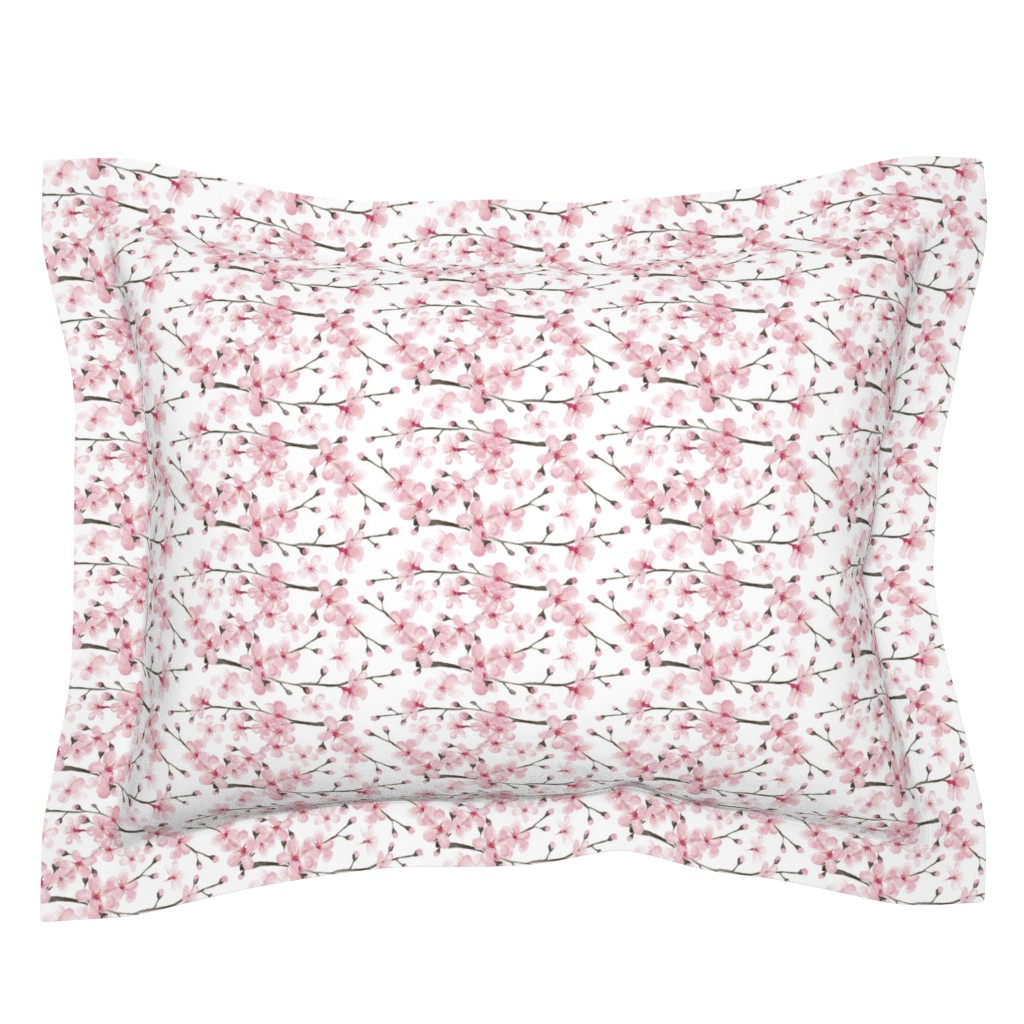 Sebright Pillow Sham featuring cherry blossom watercolor  // cherry blossom floral by magentarosedesigns