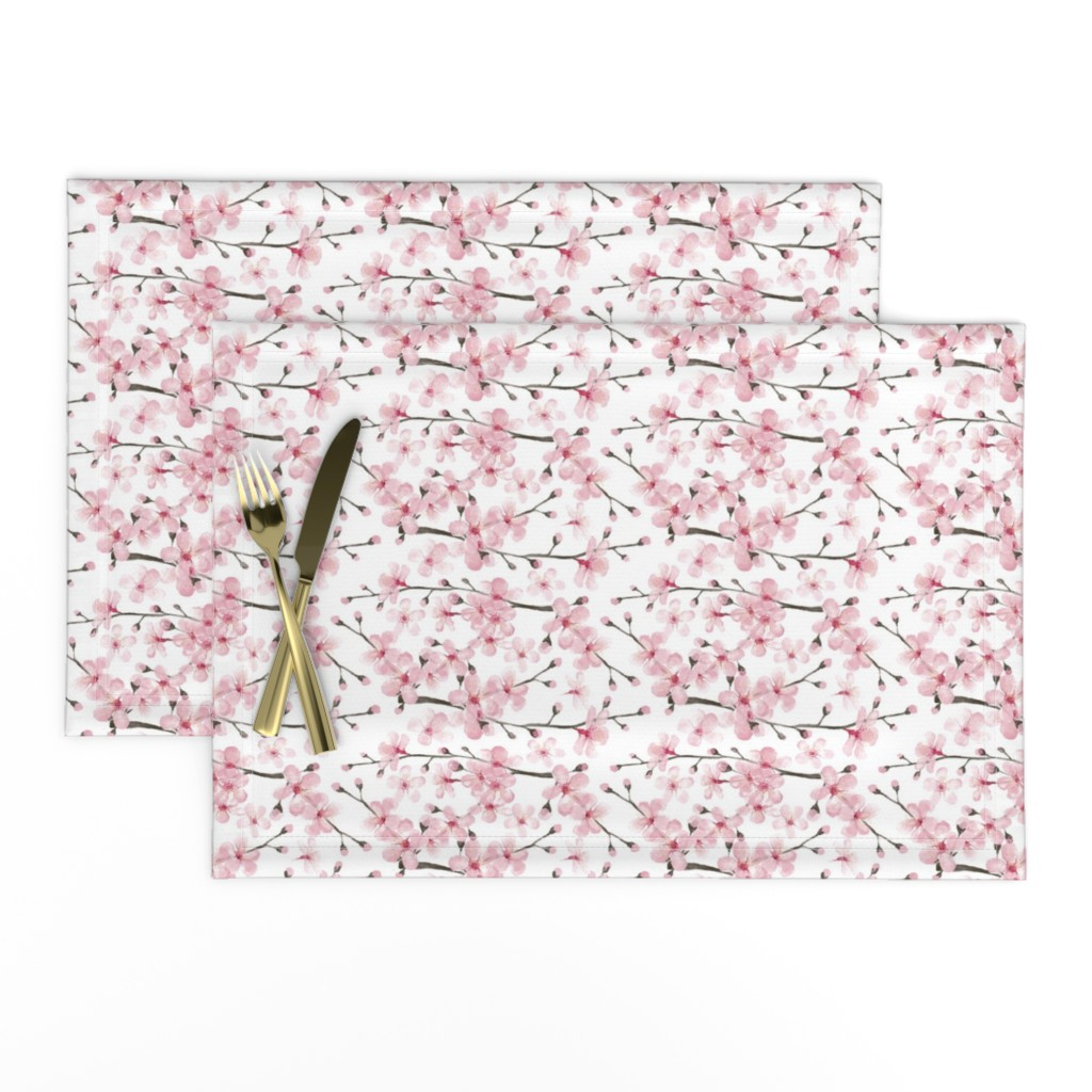 Lamona Cloth Placemats featuring cherry blossom watercolor  // cherry blossom floral by magentarosedesigns