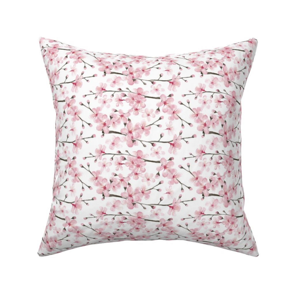 Catalan Throw Pillow featuring cherry blossom watercolor  // cherry blossom floral by magentarosedesigns