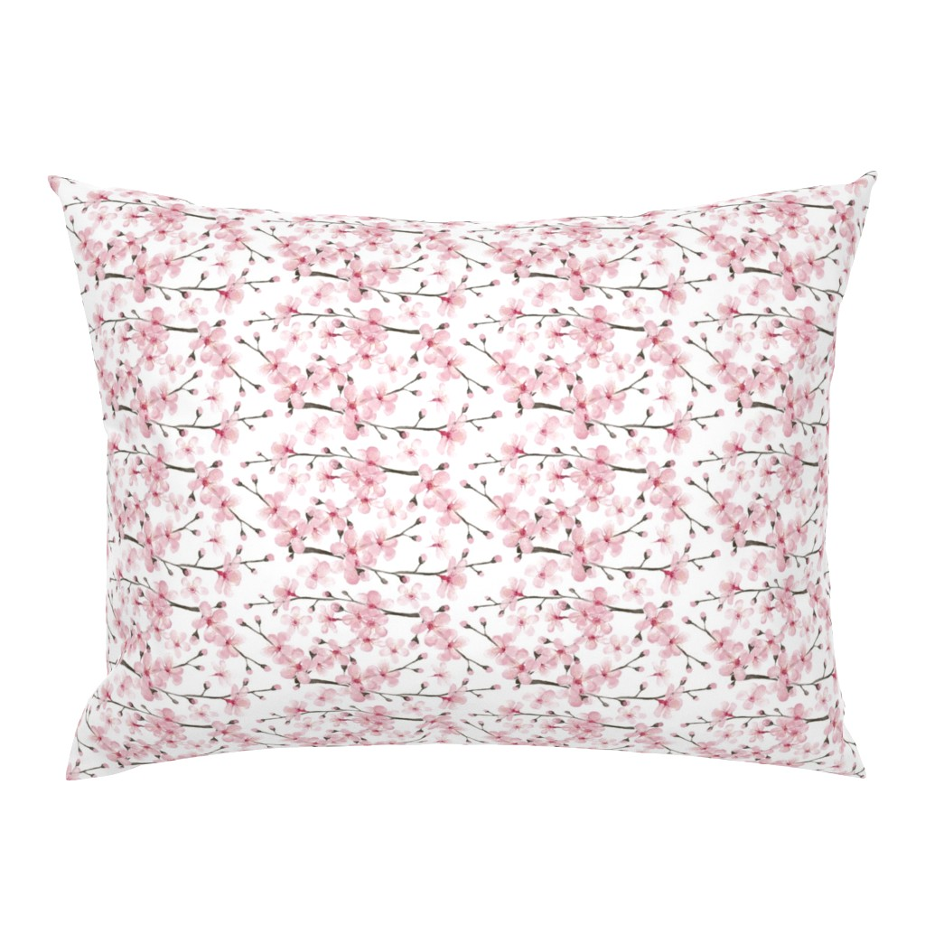 Campine Pillow Sham featuring cherry blossom watercolor  // cherry blossom floral by magentarosedesigns