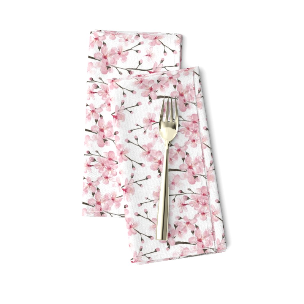 Amarela Dinner Napkins featuring cherry blossom watercolor  // cherry blossom floral by magentarosedesigns