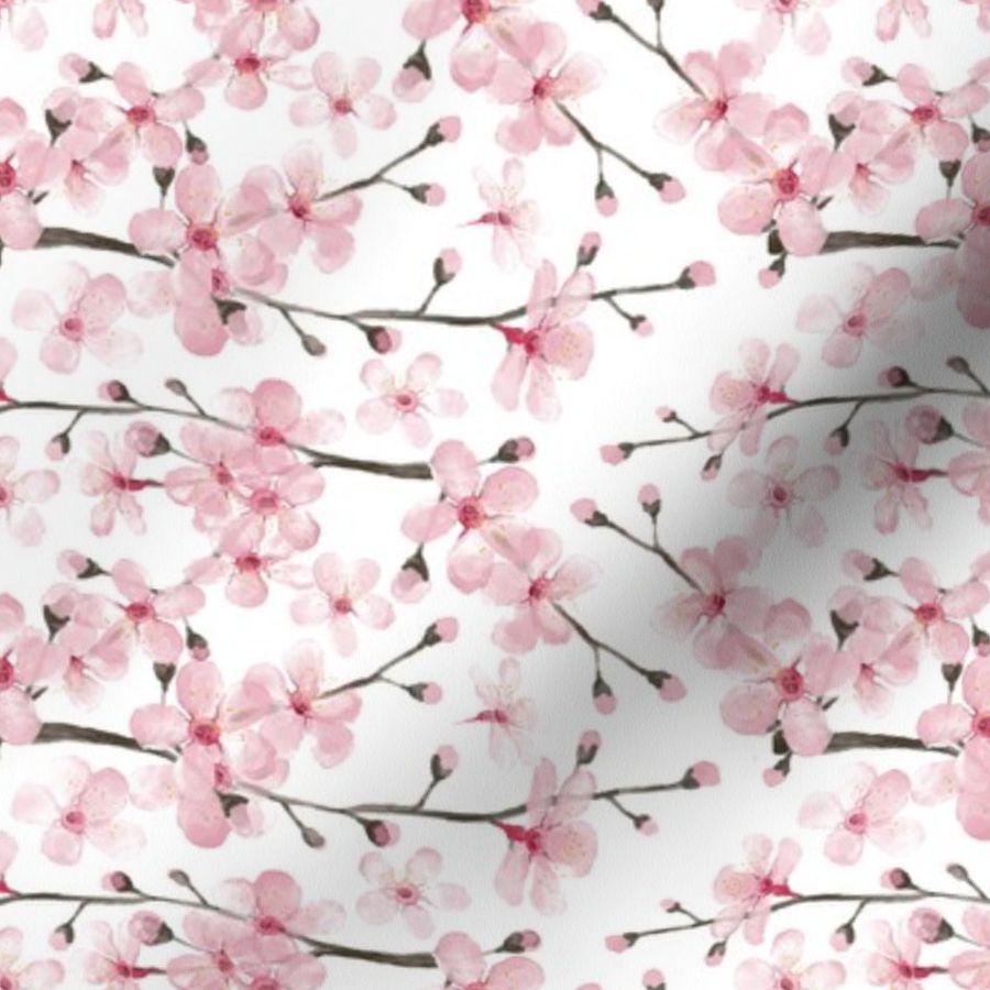 Cherry Blossom Watercolor Cherry Blo Spoonflower