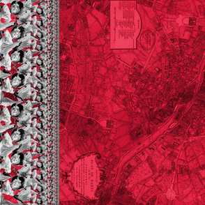 Cancan ~ Border Print ~ Plan de Paris ~ Rouge