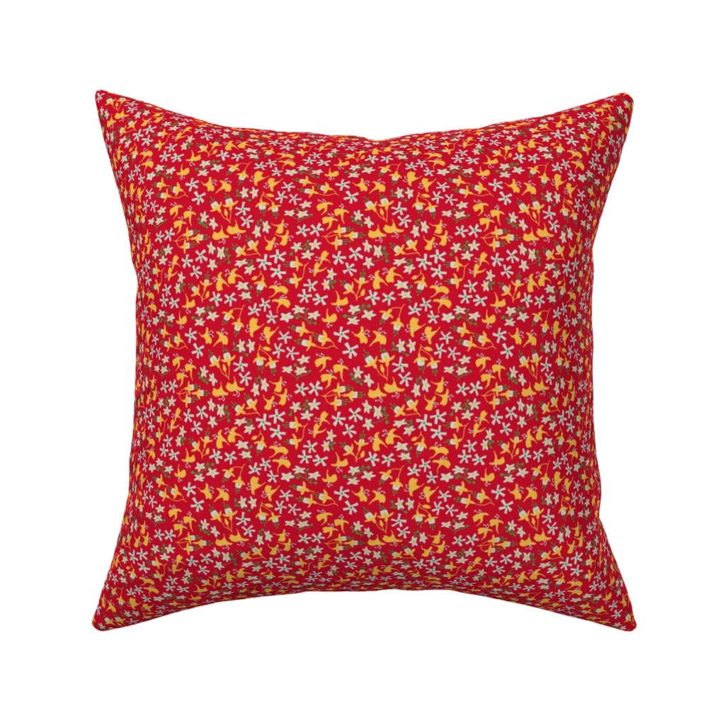 Catalan Throw Pillow featuring Sweet-smelling calico - Christmas by mongiesama