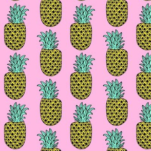 pineapple // tropical summer pineapple fruits food pink girly summer print