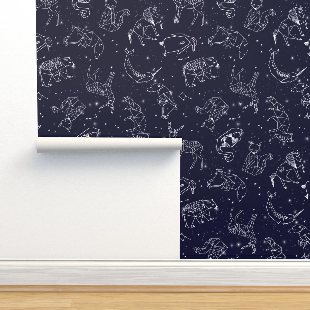 Isobar Durable Wallpaper featuring constellations // origami geometric animal astronomy stars night sky navy blue kids nursery baby print by andrea_lauren