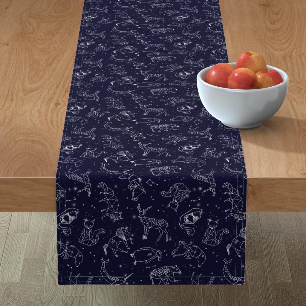 Minorca Table Runner featuring constellations // origami geometric animal astronomy stars night sky navy blue kids nursery baby print by andrea_lauren