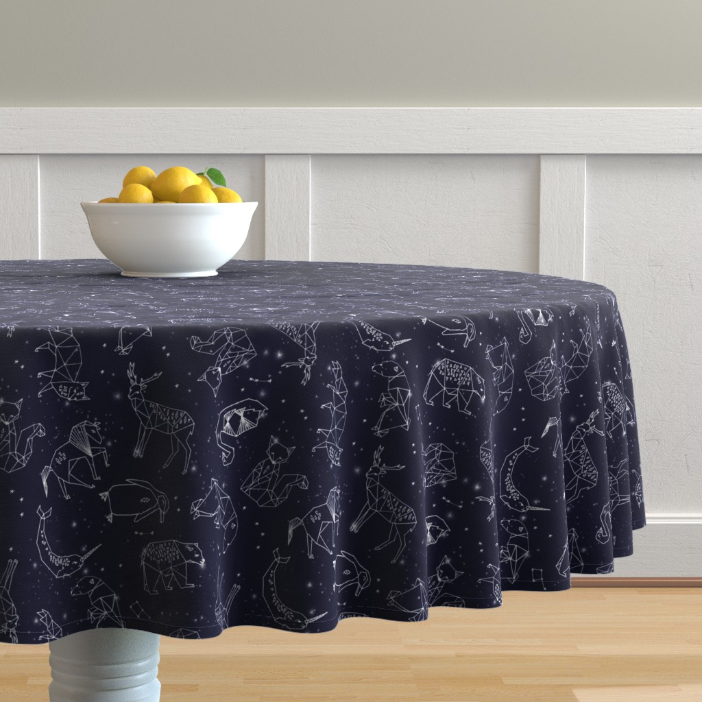 Malay Round Tablecloth featuring constellations // origami geometric animal astronomy stars night sky navy blue kids nursery baby print by andrea_lauren